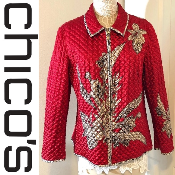 Chico's Jackets & Blazers - EUC CHICO's Quilted Print Jacket Size 3